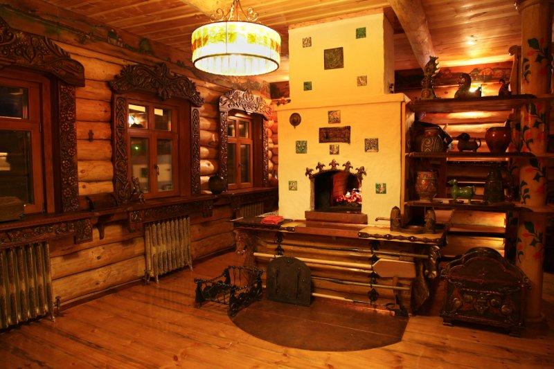 Проект кухни в Русском стиле из необработанного дерева